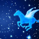 Shining Pegasus flying in the night skies. Illustrator & Photoshop techniques used.