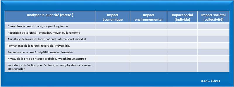Audit, impacts de la quantité en développement durable ou RSE, tableau